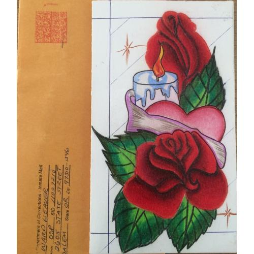 MULTIPLE MURDERER WARD WEAVER HANDMADE CARD, ROSE COMES WITH MAILING ENVELOPE