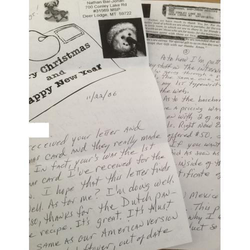 DECEASED KILLER CANNIBAL NATHAN BAR-JONAH HANDWRITTEN 2 PAGE LETTER WITH ORIGINAL MAILING ENVELOPE