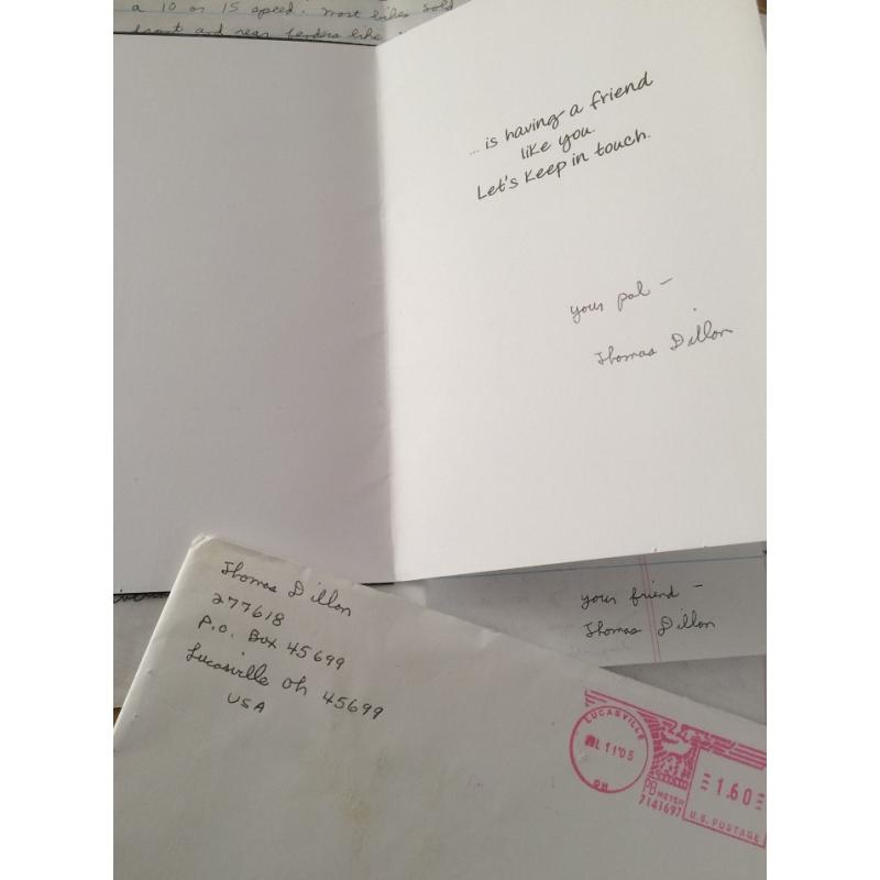 DECEASED SERIAL KILLER THOMAS DILLON HANDWRITTEN 2 PAGE LETTER/ENVELOPE AND SIGNED CARD - FREE SHIPPING WORLDWIDE