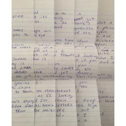 DECEASED SERIAL KILLER RONALD JAMES WARD 5 PAGE HANDWRITTEN LETTER   ENVELOPE