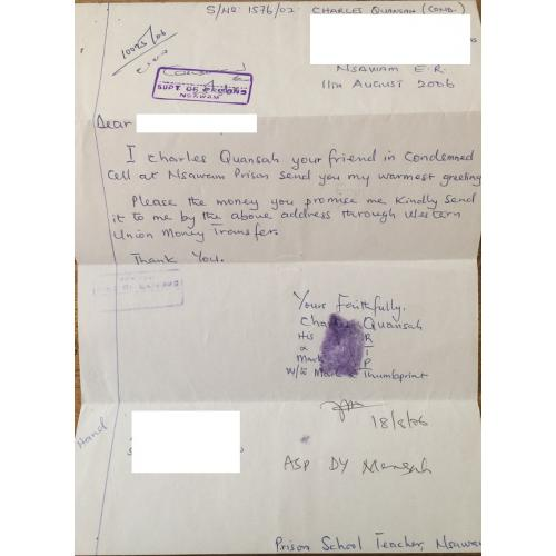 SERIAL KILLER CHARLES QUANSAH HANDWRITTEN LETTER + ENVELOPE