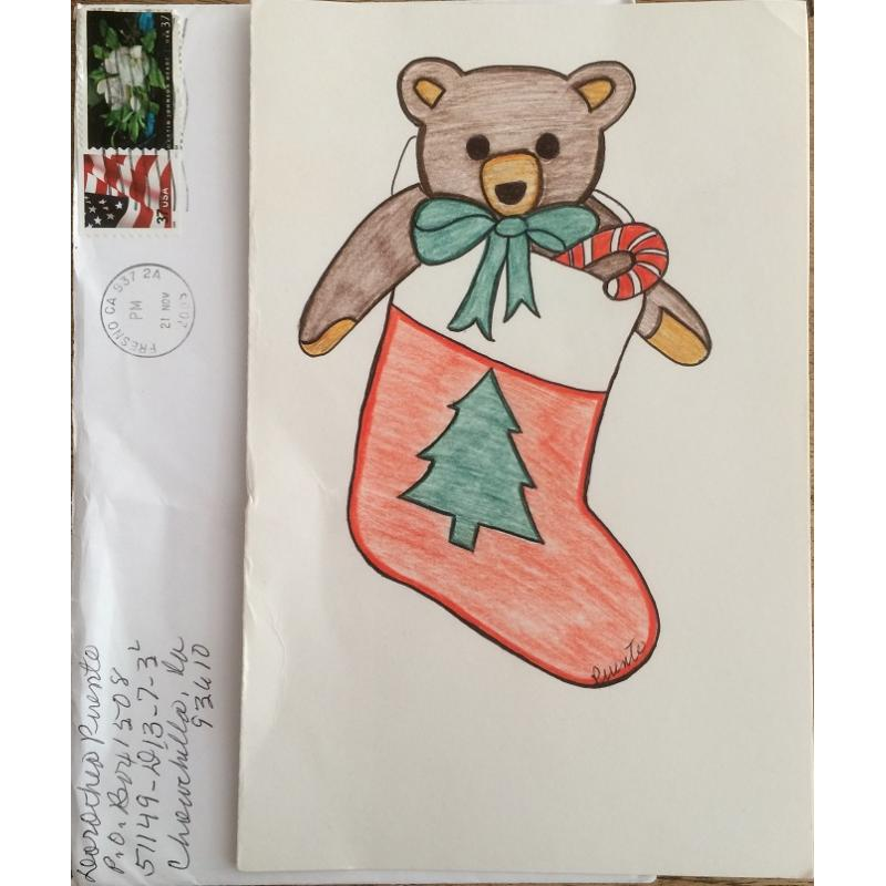 DECEASED SERIAL KILLER DOROTHEA PUENTE HANDMADE CARD WITH DRAWING ON FRONT COMES WITH ENVELOPE - FREE SHIPPING WORLDWIDE