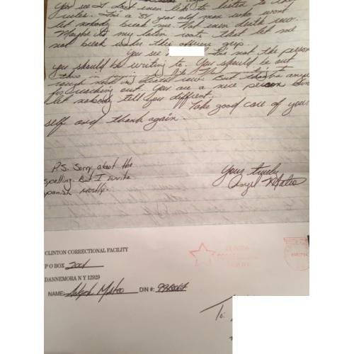 SERIAL KILLER ANGEL MATEO HANDWRITTEN LETTER + ENVELOPE SET