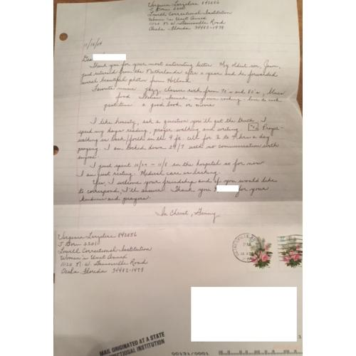 VIRGINIA LARZELERE FLORIDA RESIDENT SENTENCED TO DEATH (MURDER FOR HIRE) HANDWRITTEN LETTER   ENVELOPE SET