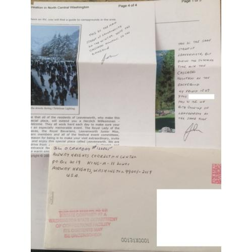 SERIAL KILLER JOHN D. CANADAY HANDWRITTEN/TYPED LETTER/ENVELOPE SET, RARE
