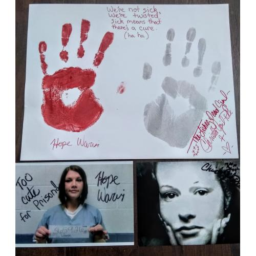 Christa Pike / Hope Warvi We're not sick, we are twisted Signed Handprints With Signed Photos