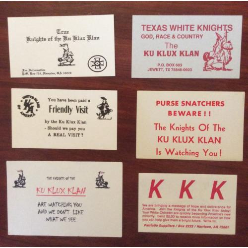 collection of 6 Ku Klux Klan warning and business cards