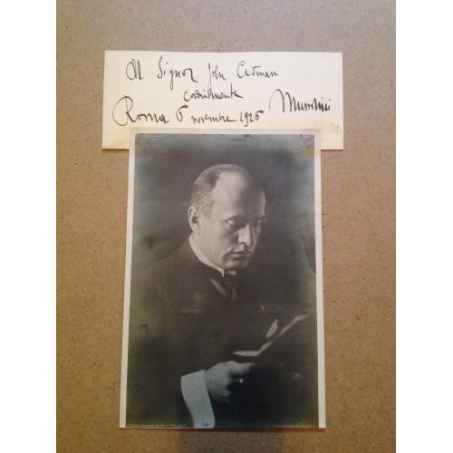 Benito Mussolini original photo and message signed