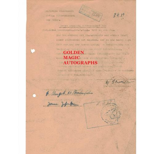 JOSEF MENGELE AND IRENE MENGELE SIGNED DOCUMENT