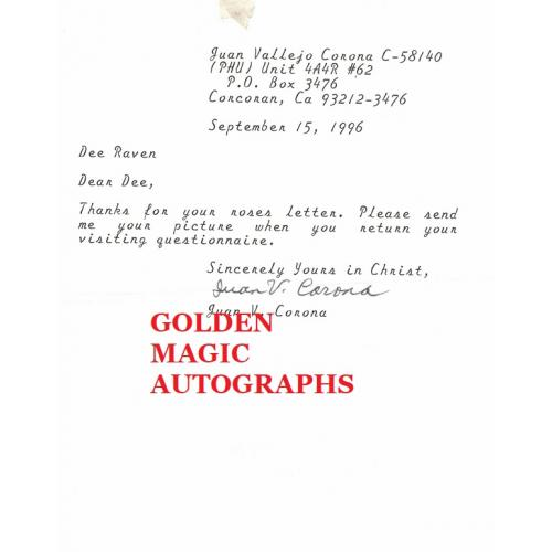 JUAN VALLEJO CORONA - TYPED LETTER SIGNED WITH ENVELOPE