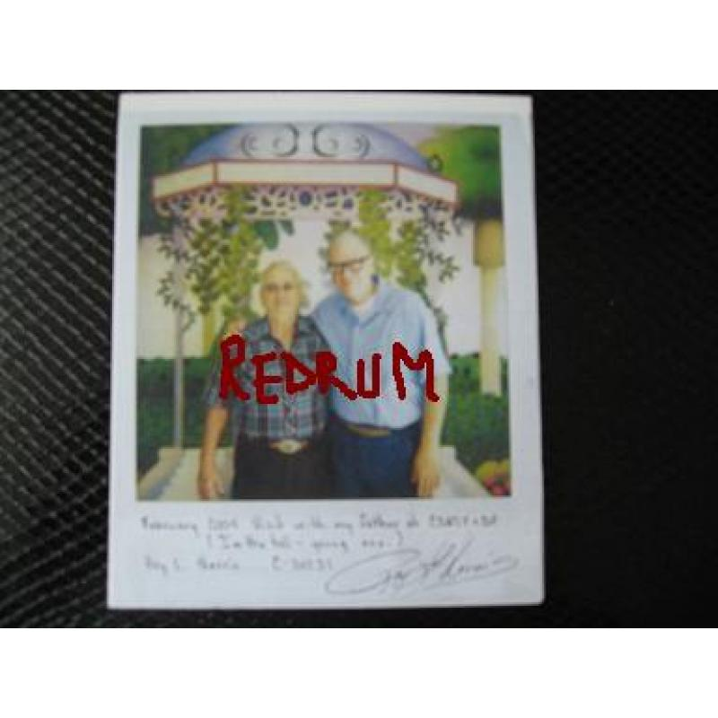 Roy L. Norris polaroid taken in Corcoran Prison with his father signed twice from 2004