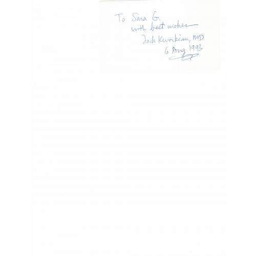 JACK KEVORKIAN SIGNED INDEX CARD