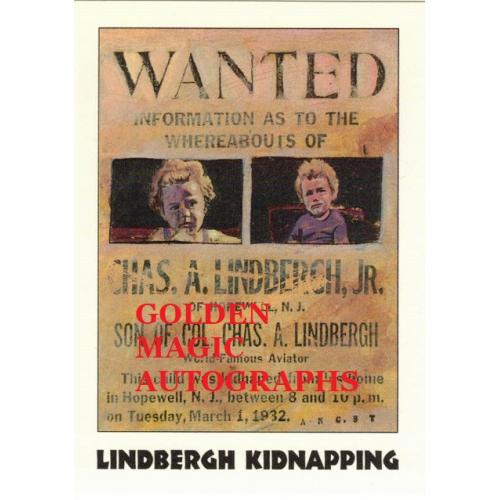 LINDBERGH KIDNAPPING TRUE CRIME CARD