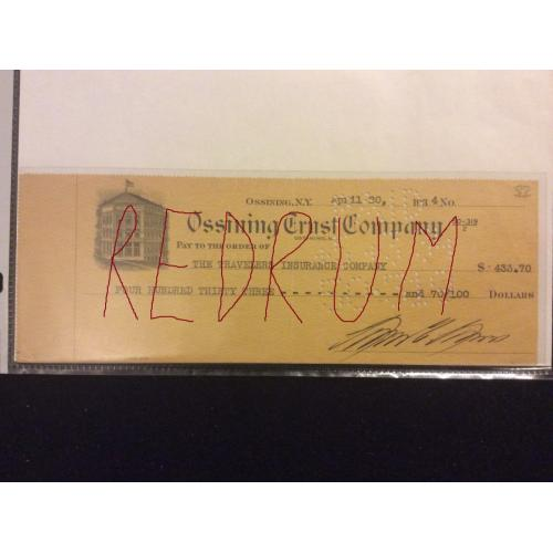 Great Lewis Laws Sin Sing Prison Warden signed check from the Albert Fish and gangster era circa 1930's