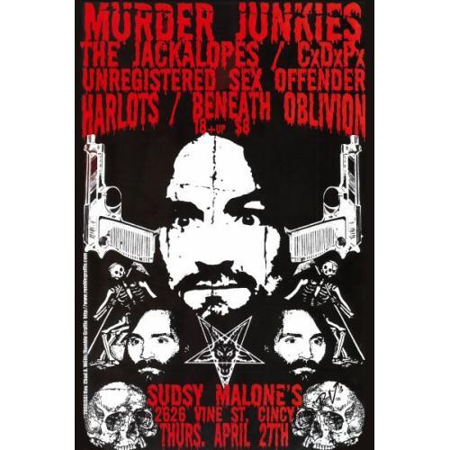 MURDER JUNKIES CHARLES MANSON CONCERT POSTER CINN. SHOW