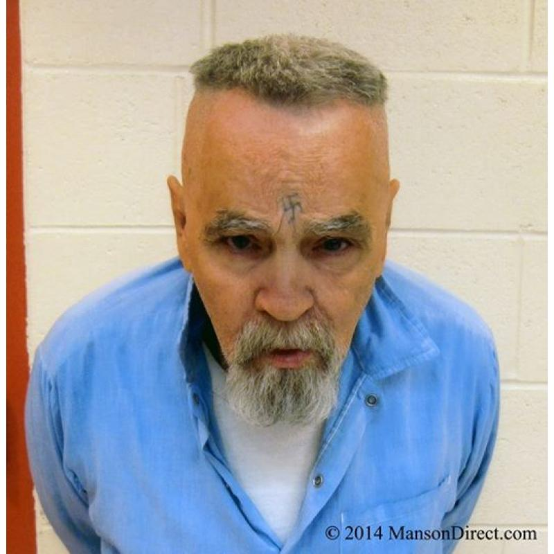 Charles Manson grey hair with 4 x 6 picture shaven in Corcoran Prison on July 2014