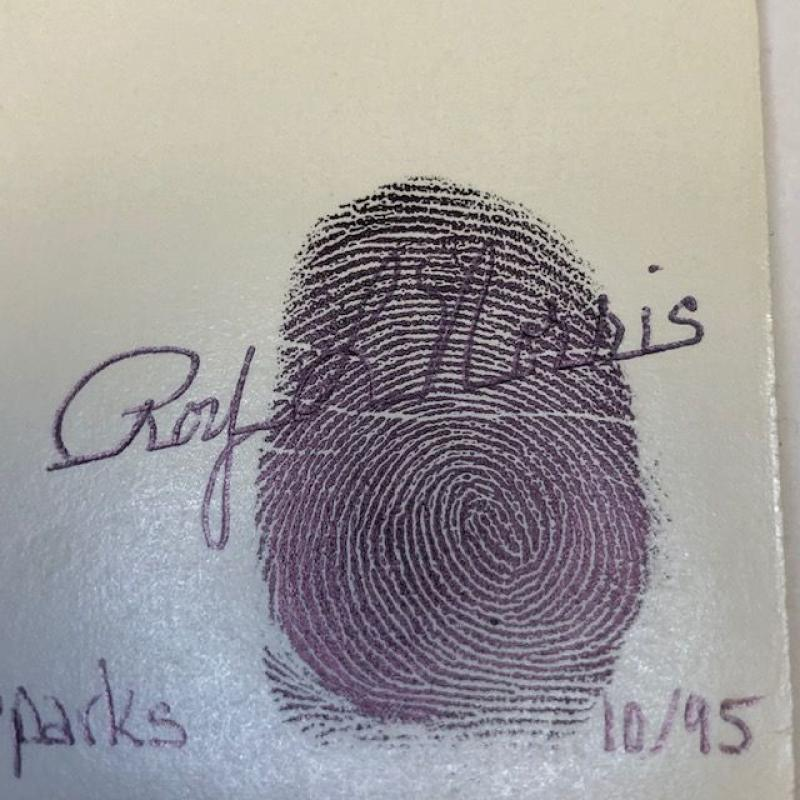 ROY LEE NORRIS IRIS DRAWING WITH THUMB PRINT