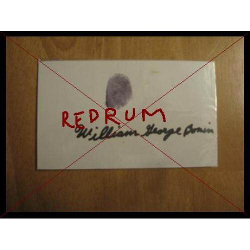 William Georoge Bonin 3 x 5 index card signed in full with thumbprint from mid 90's