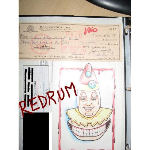 John Wayne Gacy pre-arrest P.D.M contractors 8213 W. Summerdale check signed from December 1978