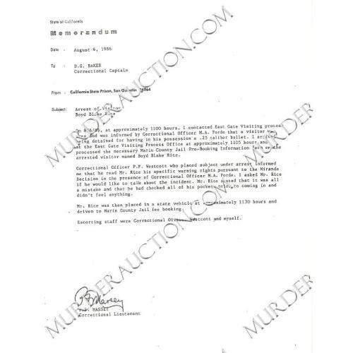 CHARLES MANSON/BOYD RICE San Quentin arrest report 8/6/1986