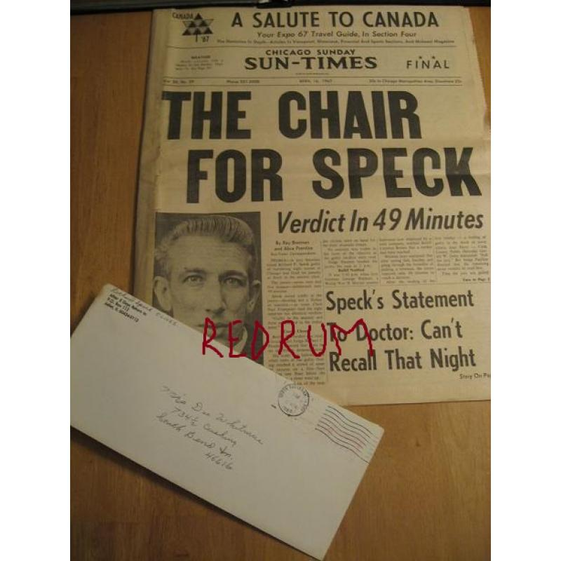 Richard Speck original envelope with 5 lines penned in his hand this is from 1989