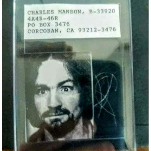 Charles Manson hair sample in a hard collectors case.