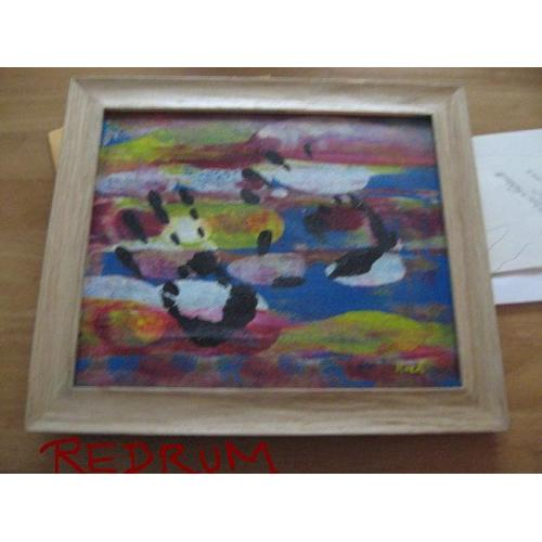 Roch Theriault original abstract painting on stretched canvas with both hands in paint signed Roch Moises Theriault from 2007