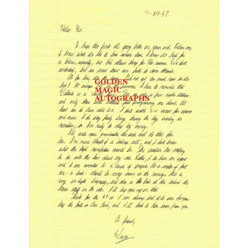 WAYNE WILLIAMS - ONE PAGE LETTER SIGNED