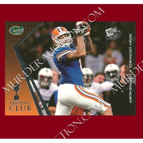 AARON HERNANDEZ 2010 Press Pass Trophy Club football card #54 DECEASED