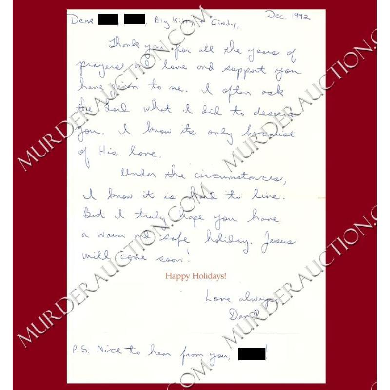 Christmas Greetings Letter.David Berkowitz Christmas Card Letter Envelope 12 8 1992