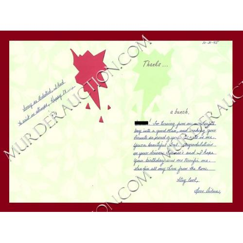 AILEEN WUORNOS greeting card/envelope 10/31/1995 EXECUTED