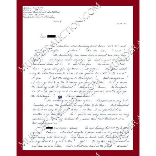 AILEEN WUORNOS letter 12/18/1997 EXECUTED