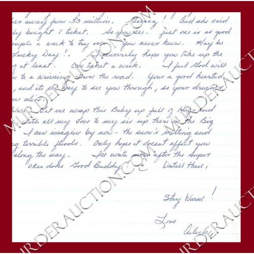 AILEEN WUORNOS letter/envelope 1/27/1997 EXECUTED