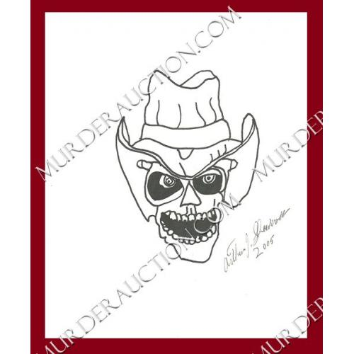 ARTHUR SHAWCROSS skull drawing 8×10 DECEASED