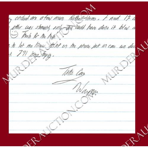 WAYNE WILLIAMS letter/envelope 8/2/2009