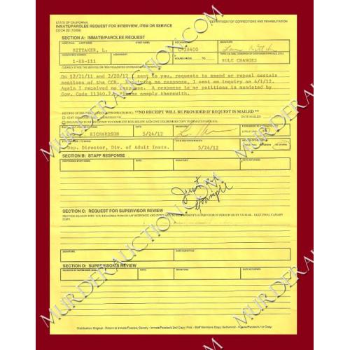 Lawrence Bittaker Request For Interview document DECEASED