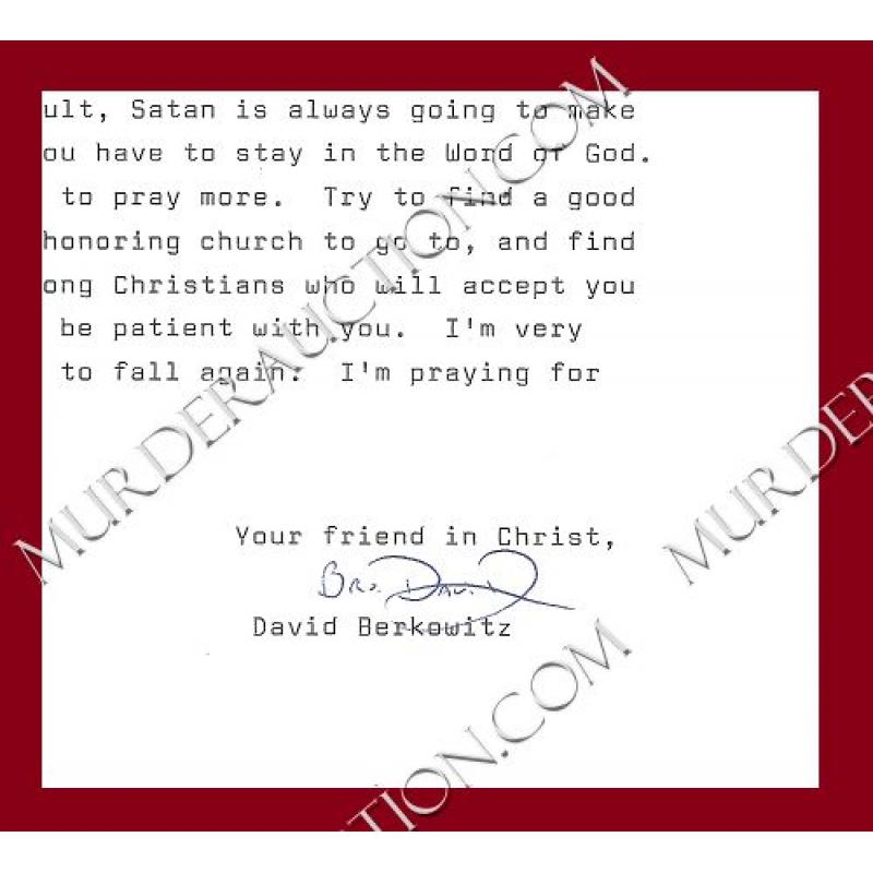 DAVID BERKOWITZ letter/envelope 1/9/2009