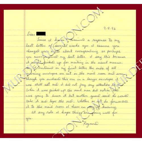 RAYMOND BROWN letter/envelope 9/9/1996 DECEASED