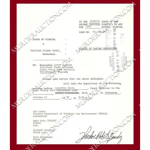THEODORE ROBERT BUNDY signed court document 10/25/1978 EXECUTED
