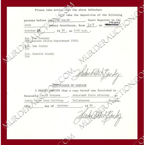THEODORE ROBERT BUNDY double signed court document 10/20/1978 EXECUTED