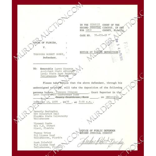 THEODORE ROBERT BUNDY signed court document 11/9/1978 EXECUTED