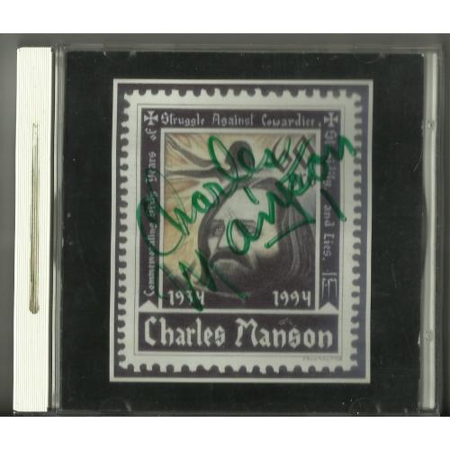 Charles Manson DOUBLE AUTOGRAPH CD
