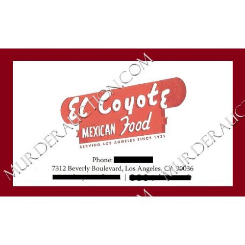 EL COYOTE MEXICAN FOOD business card Sharon Tate/Charles Manson