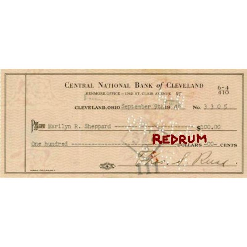Dr. Samuel Sheppard endorsed signed check from the Bank of Cleveland from 1948