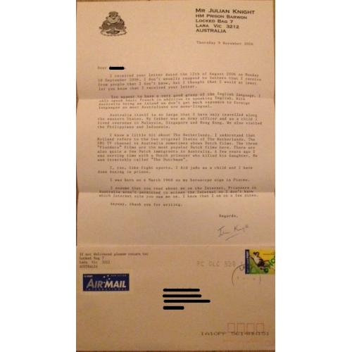 AUSTRALIAN MASS MURDERER JULIAN KNIGHT TYPED LETTER SIGNED AND ORIGINAL MAILING ENVELOPE - FREE SHIPPING WORLDWIDE