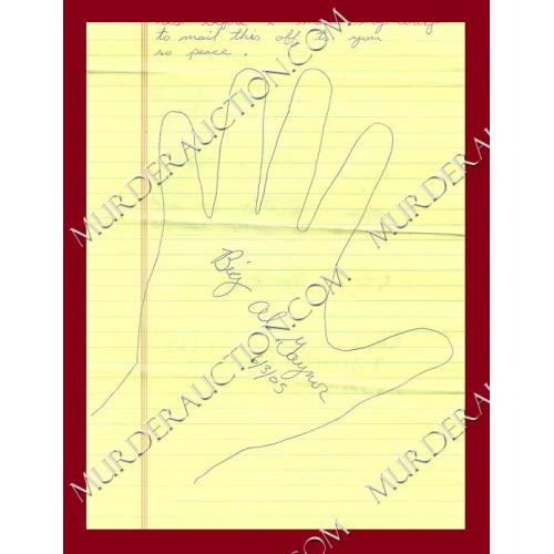 Alfred Gaynor hand tracing with letter/envelope 6/3/2005