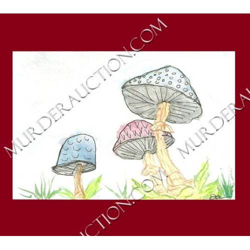 DANA GRAY Magic Mushrooms painting 4×6