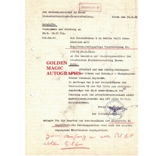 REINHARD HEYDRICH ASSASSINATION ALERT DOCUMENT - RARE!