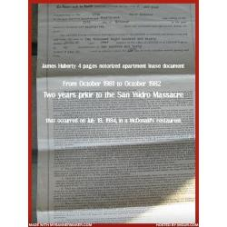 James Huberty original notorized apartment lease document signed 6 times from 1981