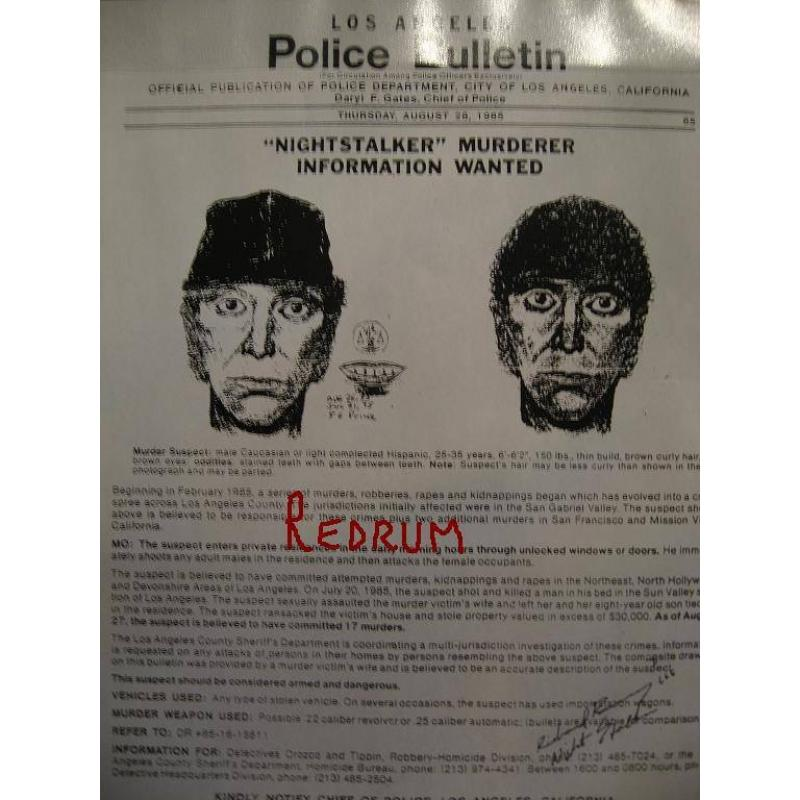 Richard Ramirez Los Angeles police bulletin 9 x 11 poster on the night stalker signed  in full w/666